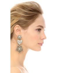 Oscar de la Renta Metallic Crystal Stars Heart Drop Earrings - Crystal/Silver
