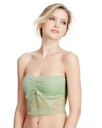 Free People - Green Galoon Lace Strapless Crop Bra - Lyst