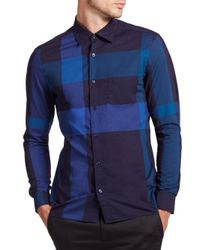 Burberry Brit | Blue Keegan Check Cotton Sportshirt for Men | Lyst