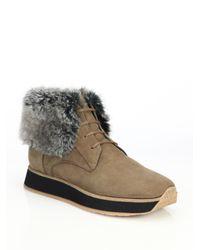 Aquatalia   Brown Jacoba Nubuck Leather & Faux Fur Sneakers   Lyst