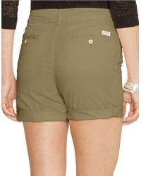 Lauren by Ralph Lauren | Green Petite Drawcord Chino Shorts | Lyst