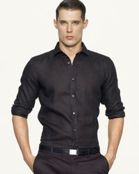 Ralph Lauren | Black Label Tailored Linen Sloan Sport Shirt for Men | Lyst