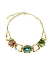 T Tahari - Metallic 14k Goldplated Multicolor Stone Statement Necklace - Lyst