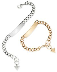 Guess | Metallic Two-tone Id Plaque Link Bracelet Set | Lyst