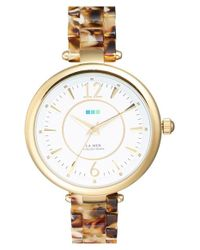 La Mer Collections - Metallic 'sicily' Patterned Acetate Bracelet Watch - Lyst