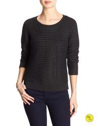 Banana Republic | Black Factory Basket-weave Sweater | Lyst