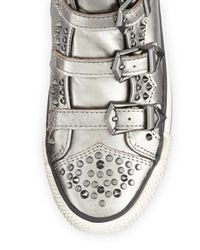 Ash - Metallic Viking Studded Buckled Hightop Sneaker Silver - Lyst