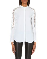 The Kooples Multicolor Lace Insert Crepe Shirt