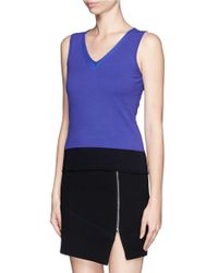 Armani - Purple Colourblock Sleeveless Knit Top - Lyst