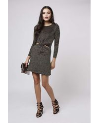 TOPSHOP | Knot Detail Metallic Dress | Lyst