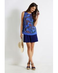 Oasis Blue Butterfly Contrast Trim Top