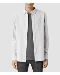 AllSaints - Gray County Shirt for Men - Lyst