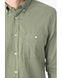 7 For All Mankind | Green Long Sleeve Vintage Dobby Print Shirt In Ivy for Men | Lyst
