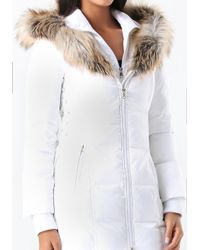 Bebe - White Lace Up Puffer Coat - Lyst