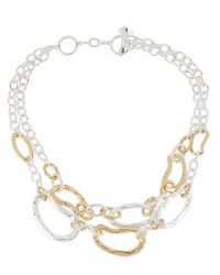 Robert Lee Morris - Metallic Two-Tone Hammered Link Two-Row Necklace - Lyst