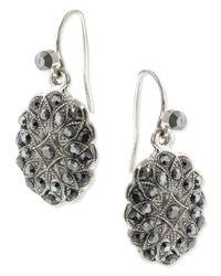 2028 | Metallic Silver-tone Hematite Oval Drop Earrings | Lyst