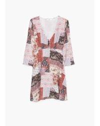 Mango | Red Flowy Printed Dress | Lyst