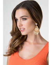 Bebe Metallic Tribal Chandelier Earrings