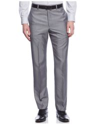 Calvin Klein - Gray Slim-fit Solid Dress Pants for Men - Lyst