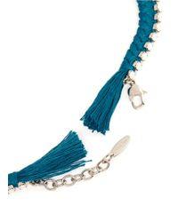 Joomi Lim - Blue Cotton Braid Crystal Necklace - Lyst