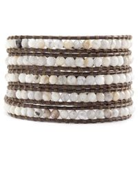 Chan Luu | Natural African Opal Wrap Bracelet On Brown Leather | Lyst