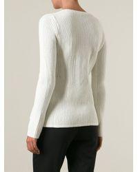 Jil Sander Navy - White Ribbed Round Neck Sweater - Lyst