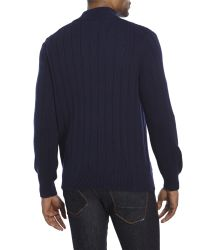 Izod | Blue Quarter-Zip Cable Sweater for Men | Lyst
