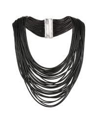 TOPSHOP - Black Fine Cord Multi-row Collar - Lyst