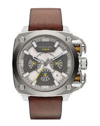 DIESEL | Brown 'bamf' Chronograph Leather Strap Watch for Men | Lyst