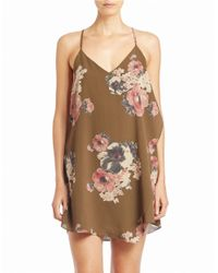 Free People | Brown Floral Slip Dress | Lyst