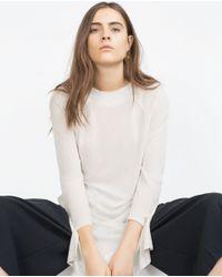 Zara | White Long Printed T-shirt | Lyst