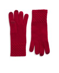 Lord & Taylor | Red Knit Cuff Cashmere Gloves | Lyst