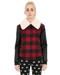 American Retro Red Checky Wool And Shearling Jacket