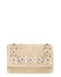 Glint Natural Embellished Straw Clutch