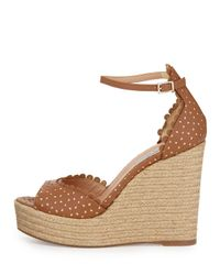 Tabitha Simmons - Brown Harp Perforated Scalloped Leather Wedge - Lyst