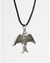 ASOS - Black Rope Necklace With Bird Pendant for Men - Lyst