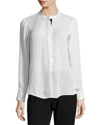 Vince White Long-sleeve Color-tipped Blouse
