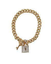 Juicy Couture | Metallic Pave Lock Bracelet | Lyst