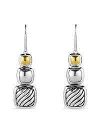 David Yurman Yellow Chiclet Tripledrop Earrings with Gold