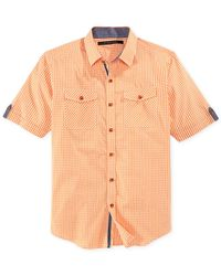 Sean John - Orange Short-Sleeve Gingham Shirt for Men - Lyst