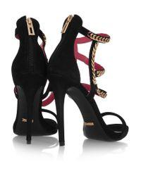 Schutz Black Chain-trimmed Suede Sandals