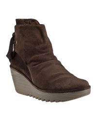 Fly London | Brown Yama Wedge Boot Sludge Suede | Lyst