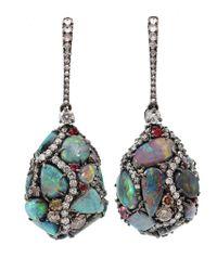 Arunashi | 18kt Black Gold Opal Egg Drop Earrings | Lyst