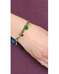 Tai | Metallic Evil Eye Pom Pom Beaded Bracelet - Gold Multi | Lyst