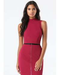 Bebe | Red Ottoman Mock Neck Crop Top | Lyst