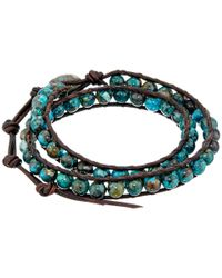 Chan Luu | Blue 13 1/2' Compressed Turquoise/natural Dark Brown Double Wrap Bracelet for Men | Lyst