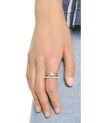 Madewell | Metallic Long Bar Stacking Ring - Worn Rhodium | Lyst