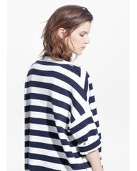 Mango - Blue Striped Knit Coat - Lyst