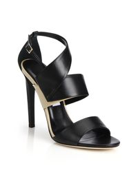 Jimmy Choo   Black Trapeze Asymmetrical Leather & Patent Leather Sandals   Lyst
