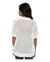 DKNY White Short Sleeve Mesh Stitch Cardi